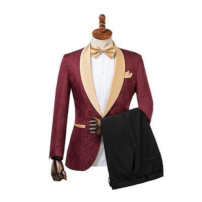 Dominic Stylish Burgundy Slim Fit Jacquard Wedding Suit for Men_2