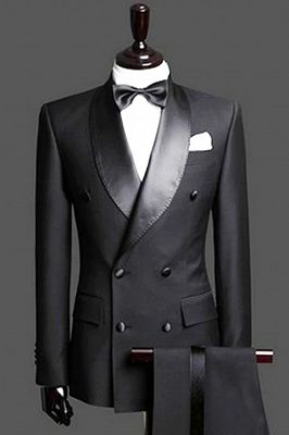 Black Double Breast Wedding Suits Tuxedos   Satin Lapel 2 Pieces(Jacket pants) for wedding/prom_1