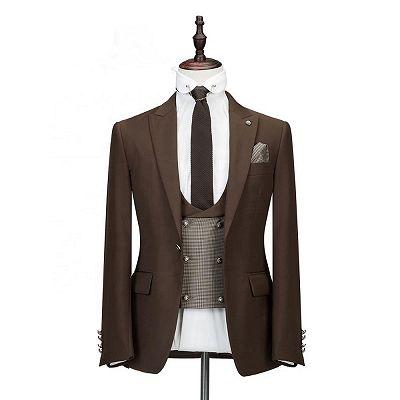 Gage Brown Three Pieces Tailored Peaked Lapel Slim Fit Wedding Groom Suits_3