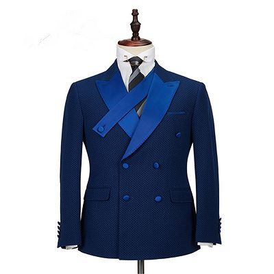 Jonah Navy Blue Plaid Peaked Lapel Double Breasted Formal Business Men Suits_4