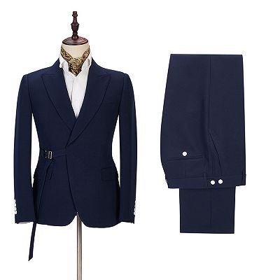 Maxwell Custom Made Navy Blue Peaked Lapel Cheap Men Suits Online_3
