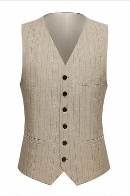 Gentle Khaki Striped Peak Lapel Formal Men's Suit for Business_3