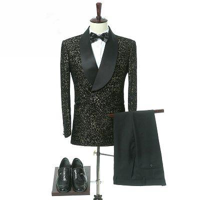Garrett Black Slim Fit Shawl Lapel Double Breasted Wedding Groom Suits_3