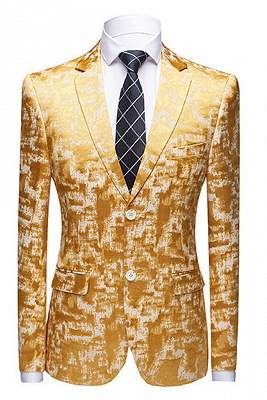 Special Printed Bright Gold Notched Lapel Men's Suits for Prom_1