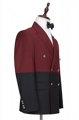 Emmanuel Fashion Burgundy and Black Double Breasted Peaked Lapel Men Suits for Prom_2