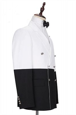 Jorge Simple White and Black Double Breasted Custom Made Men Suits Online_2