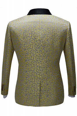 Chic Black Satin Shawl Lapel Prom Suits | Gold Jacquard Men's Wedding Tuxedos - Terence_2