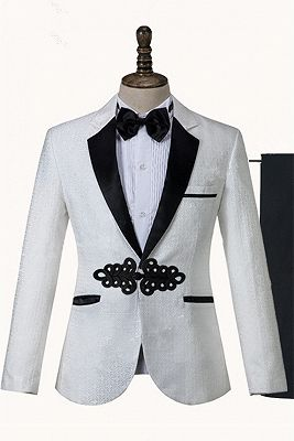 Devin White Jacquard Knitted Button Fashion Wedding Suit_1