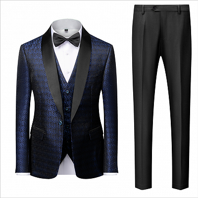 Popular Dark Navy Blue Men's Wedding Tuxedos | Black Satin Lapel Jacquard Prom Suits_2