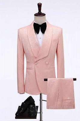 Eli Pink Double Breasted Jacquard shawl Lapel Wedding Men Suits_1