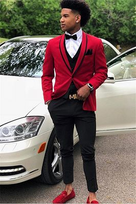Carson Red One Button Slim Fit Prom Outfits for Guys_1