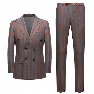 Red and Gray Stripes Formal Men's Suits | Modern Double Breasted Prom Suits_3
