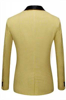 Travis Yellow Dot Shawl Lapel Cheap Wedding Groom Suits for Sale_2
