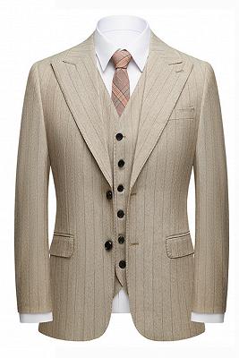 Gentle Khaki Striped Peak Lapel Formal Men's Suit for Business_1
