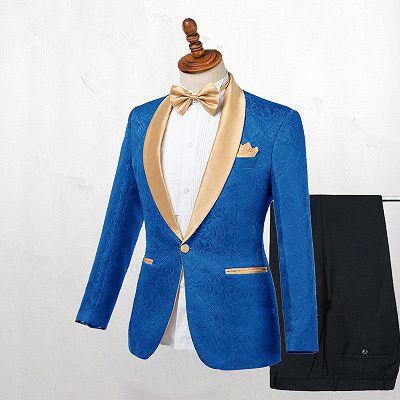 Caden Ocean Blue Jacquard Slim Fit Wedding Suits_2