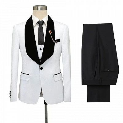 Fernando White Jacquard One Button Wedding Men Suits with Black Lapel_5
