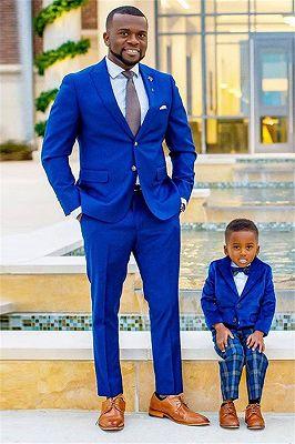 Royal Blue Peaked Lapel Best Fitted Wedding Groomsmen Suits_1