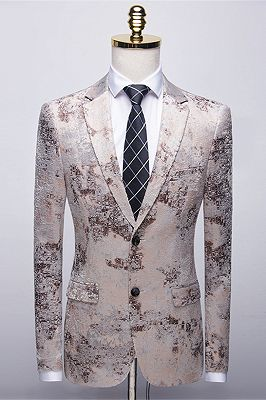 Light Brown Men's Prom Suits   Printing Wedding Tuxedos with White Pants_1