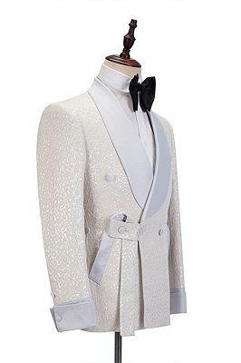 Patrick Off White Shawl Lapel Slim Fit Jacquard Bespoke Wedding Suits_3