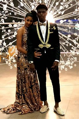 Gold Lapel Black Men's Suit | Knitted Button Suit for Prom_1