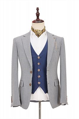 Fashion Black-and-White Plaid Slim Fit 3 Piece Men's Suit with Denim Blue Waistcoat