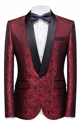 Bryce Ruby Slim Fit Jacquard Custom Made Wedding Men Suits_1