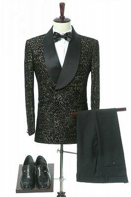Garrett Black Slim Fit Shawl Lapel Double Breasted Wedding Groom Suits_1