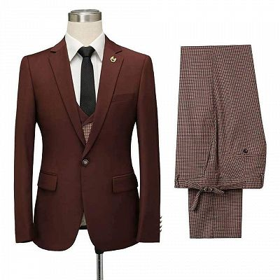 Javier Burgundy Notched Lapel Fitted Men Suits for Prom_4