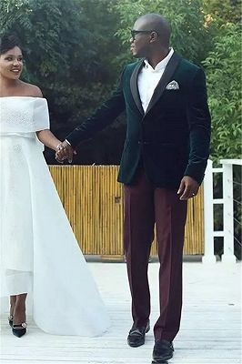 Brian Dark Green Velvet Shawl Lapel Wedding Suits for Men_1