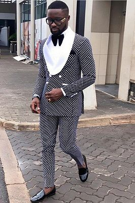 Fashion Black Dot Double Breasted Mens Suit Online with White Lapel_1