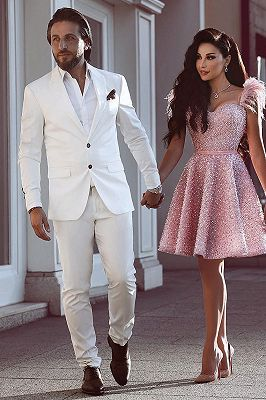 White Groom Tuxedos | Glamorous Wedding Suits for Men 2 Pieces_1