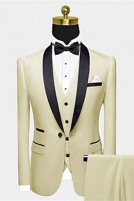 Modern Champagne Prom Suit   Black Satin Shawl Lapel Suits for Groomsmen_1