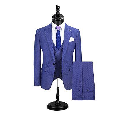 Jaiden Blue Peaked Lapel Slim Fit Men Suits Online_2