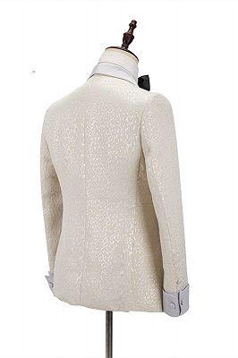 Patrick Off White Shawl Lapel Slim Fit Jacquard Bespoke Wedding Suits_2
