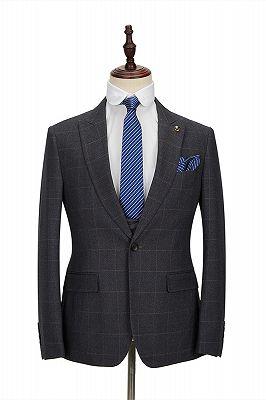 Classic Dark Gray Plaid Peak Lapel 3 Piece Men's Suit with Double Breasted Waistcoat_3