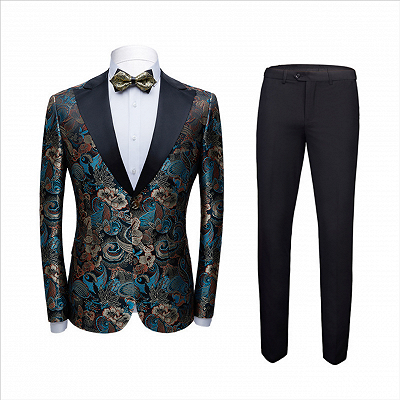 Multicolors Peak Lapel with Black Satin Wedding Tuxedos | Vintage Jacquard Men's Prom Suits_2