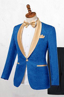 Caden Ocean Blue Jacquard Slim Fit Wedding Suits_1
