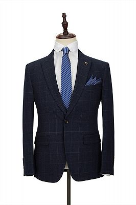 Formal Dark Navy Plaid Peak Lapel 3 Piece Men's Suit with Double Breasted Waistcoat_3