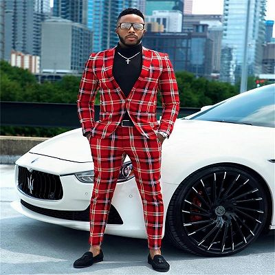 Sebastian Red Plaid One Button Formal Business Men Suits_2