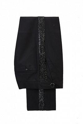 Stylish Sky Blue Stitching Sparkle Black Peak Lapel 2 Piece Men's Suit Online_2