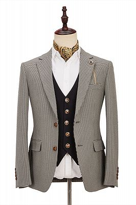 Light Khaki Notch Lapel Tailor Made 3 Piece Men's Suit with Dark Coffee Waistcoat