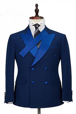 Jonah Navy Blue Plaid Peaked Lapel Double Breasted Formal Business Men Suits_1