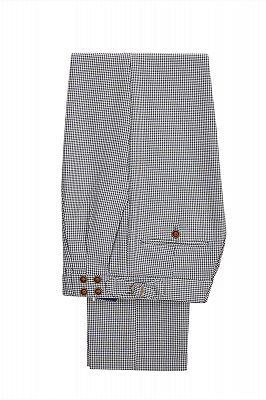 Fashion Black-and-White Plaid Slim Fit 3 Piece Men's Suit with Denim Blue Waistcoat_4
