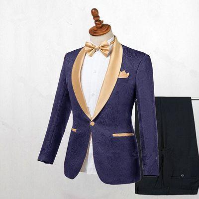 Colton Dark Blue Jacquard Shawl Lapel Wedding Suits_2