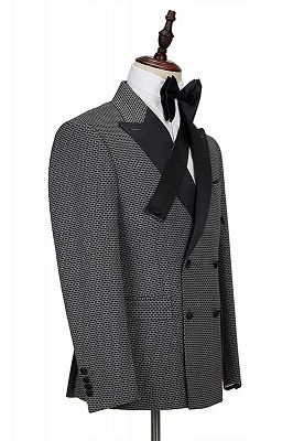 Grant Black Plaid Peaked Lapel Double Breasted Men Suits_3