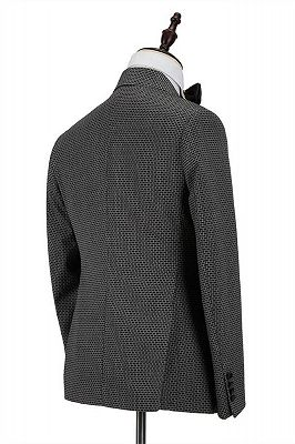Grant Black Plaid Peaked Lapel Double Breasted Men Suits_2