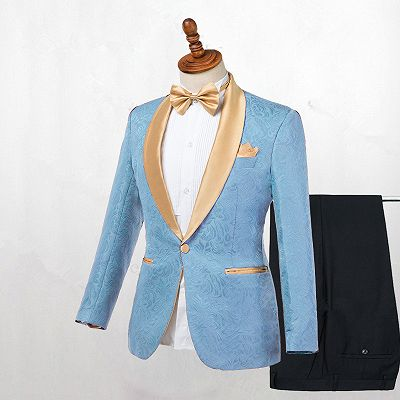 Kyle Blue One Button Shawl Lapel Best Fitted Wedding Suits for men_2