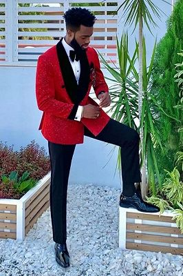 Black Velvet Lapel Banding Edge Sparkle Red Men's Suit for Prom