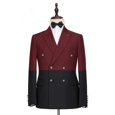 Emmanuel Fashion Burgundy and Black Double Breasted Peaked Lapel Men Suits for Prom_4
