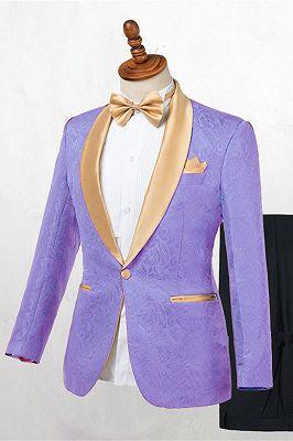 Lavender One Button Jacquard Fashion Slim Fit Wedding Tuxedo for Men_1